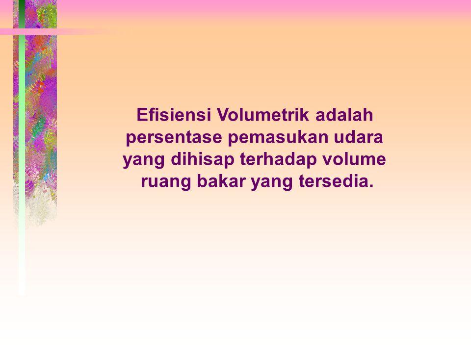 Efisiensi Volumetrik adalah persentase pemasukan udara yang dihisap terhadap volume ruang bakar yang tersedia.