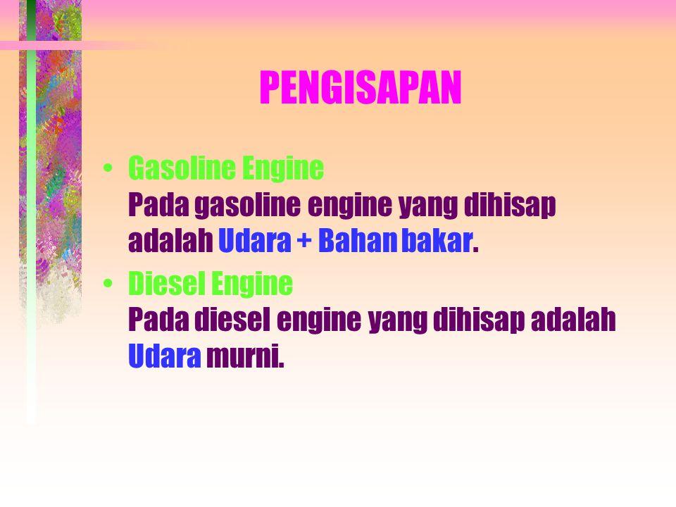 PENGISAPAN •Gasoline Engine Pada gasoline engine yang dihisap adalah Udara + Bahan bakar.