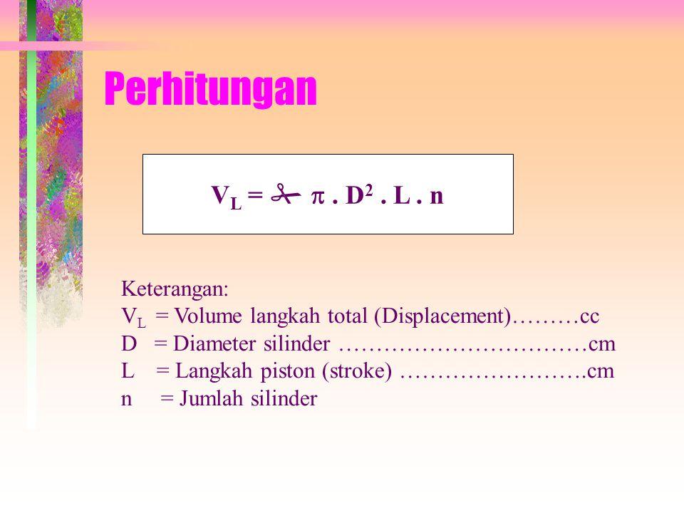 • Volume Langkah Total Volume langkah total besarnya sudah ditentukan (fix) dari manufacturer. Volume langkah adalah volume yang terjadi bila piston b