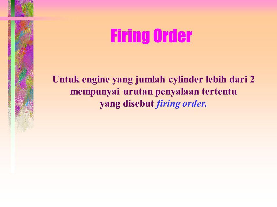 Firing Order Untuk engine yang jumlah cylinder lebih dari 2 mempunyai urutan penyalaan tertentu yang disebut firing order.