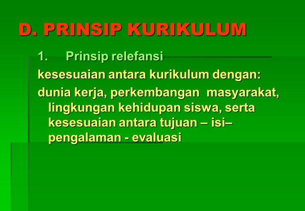 C. ASAS KURIKULUM 1. asas filosofis 2. asas sosio-kultural-religius 3. asas psikologis 4. asas perkembangan IPTEK