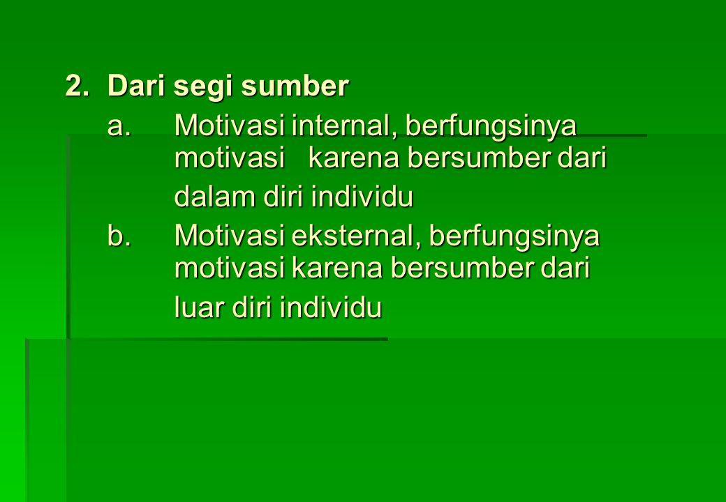 Jenis motivasi meliputi apa saja ? 1.Dari segi sifat a. motivasi dasar ( dorongan untuk memenuhi kebutuhan dasar hidup manusia yang bersifat biologis/