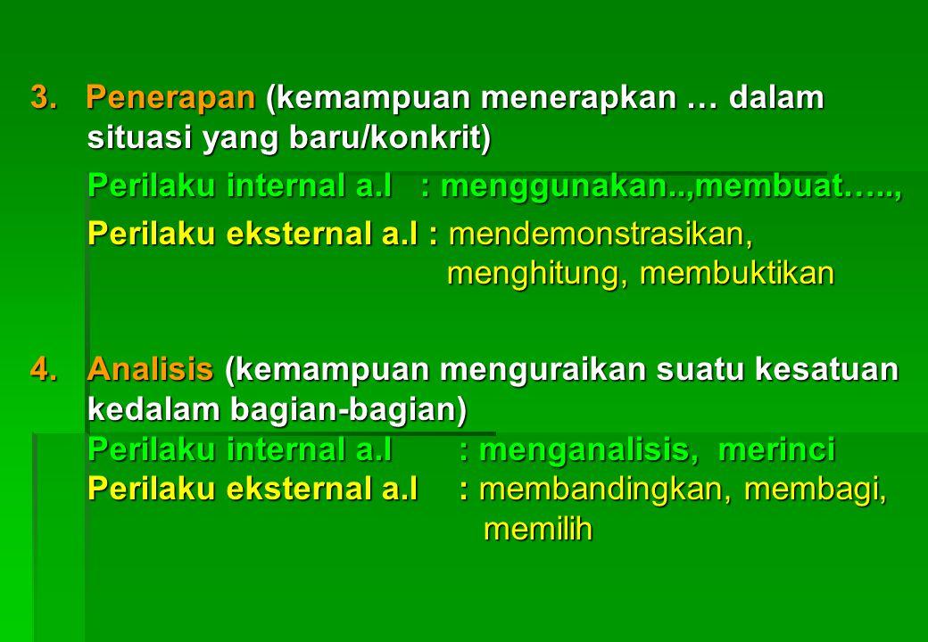 TERDIRI DARI 6 PERILAKU 1. Pengetahuan (kemampuan mengingat dan mengenal suatu obyek) Perilaku internal : mengetahui........... Perilaku eksternal a.l