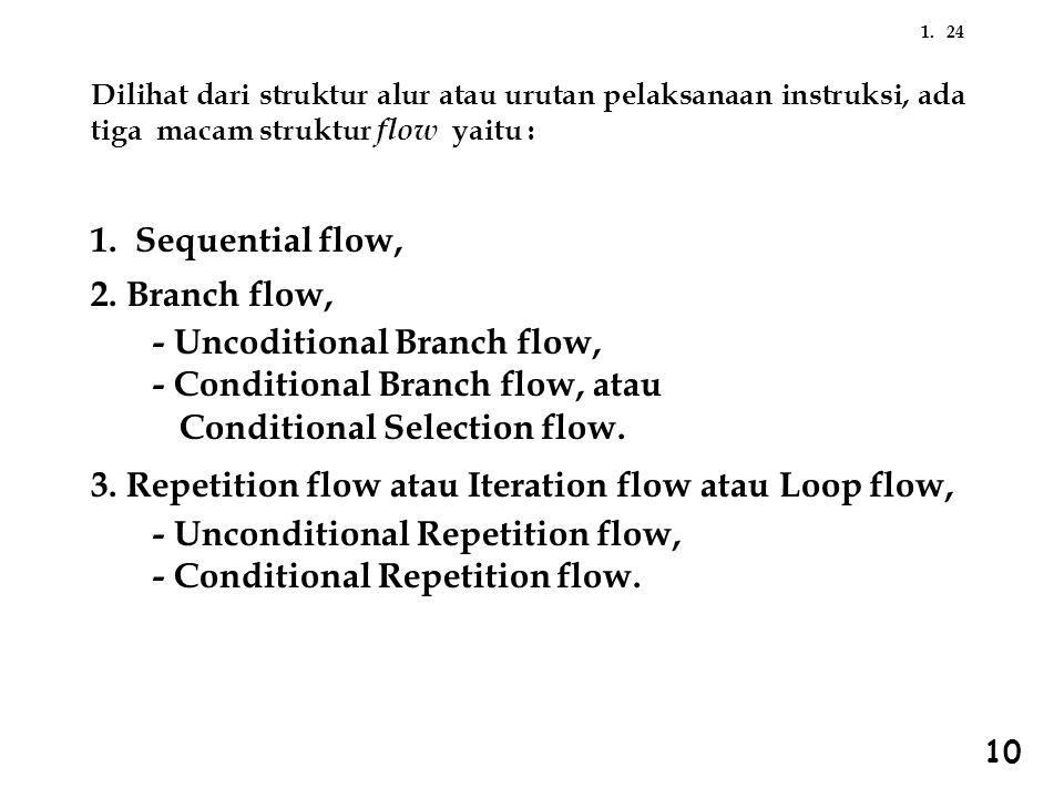 241. Dilihat dari struktur alur atau urutan pelaksanaan instruksi, ada tiga macam struktur flow yaitu : 1. Sequential flow, 2. Branch flow, - Uncoditi