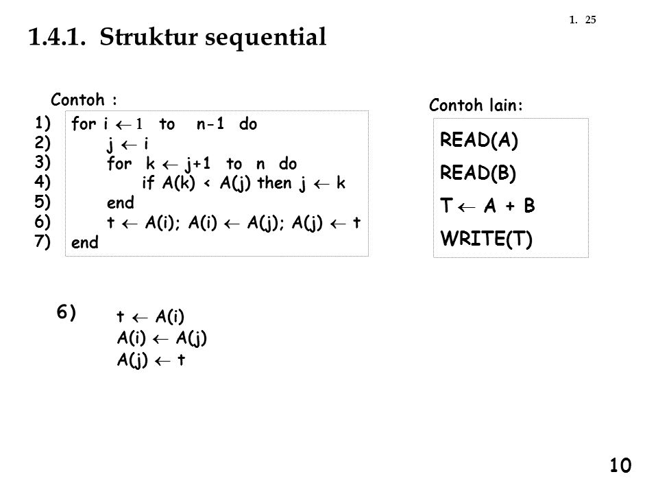 251. 1.4.1. Struktur sequential Contoh : for i  to n-1 do j  i for k  j+1 to n do if A(k) < A(j) then j  k end t  A(i); A(i)  A(j); A(j)  t