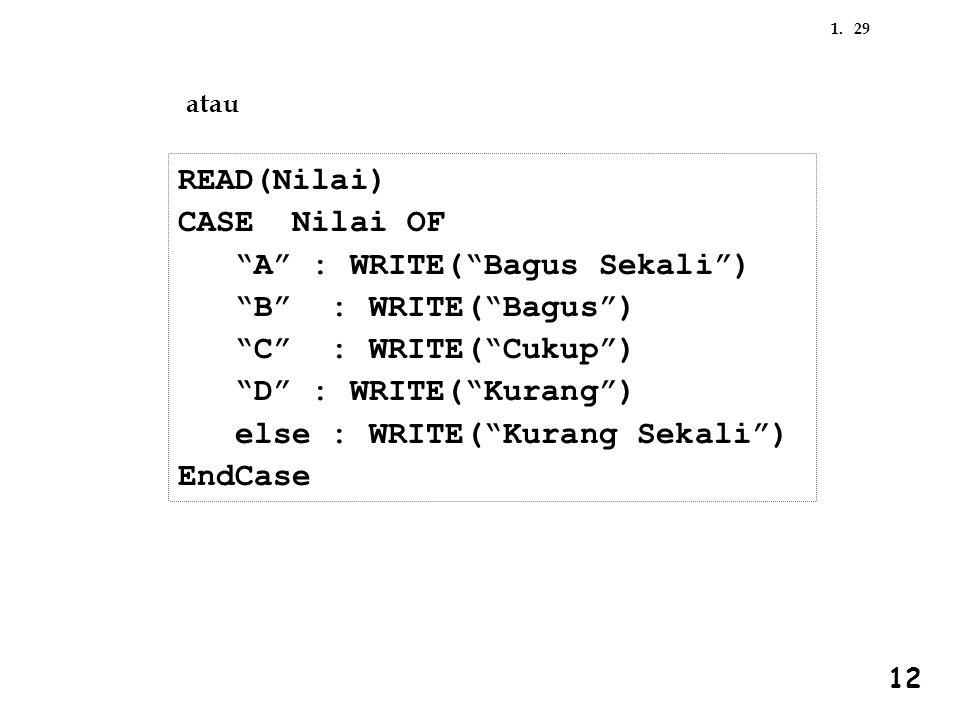 "291. 12 READ(Nilai) CASE Nilai OF ""A"" : WRITE(""Bagus Sekali"") ""B"" : WRITE(""Bagus"") ""C"" : WRITE(""Cukup"") ""D"" : WRITE(""Kurang"") else : WRITE(""Kurang Sek"