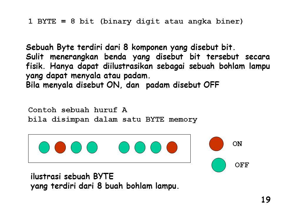 Sebuah Byte terdiri dari 8 komponen yang disebut bit. Sulit menerangkan benda yang disebut bit tersebut secara fisik. Hanya dapat diilustrasikan sebag
