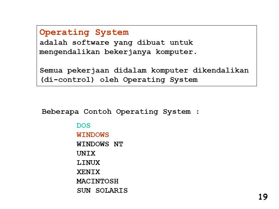 Operating System adalah software yang dibuat untuk mengendalikan bekerjanya komputer. Semua pekerjaan didalam komputer dikendalikan (di-control) oleh