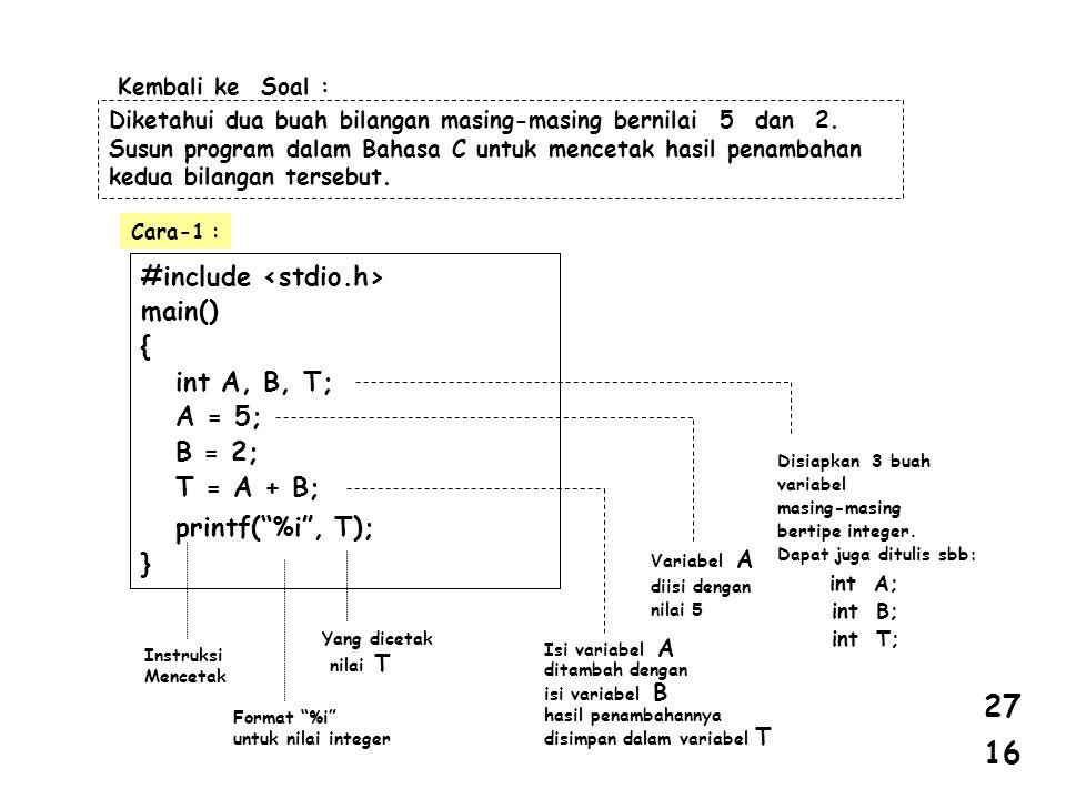 Kembali ke Soal : Diketahui dua buah bilangan masing-masing bernilai 5 dan 2. Susun program dalam Bahasa C untuk mencetak hasil penambahan kedua bilan