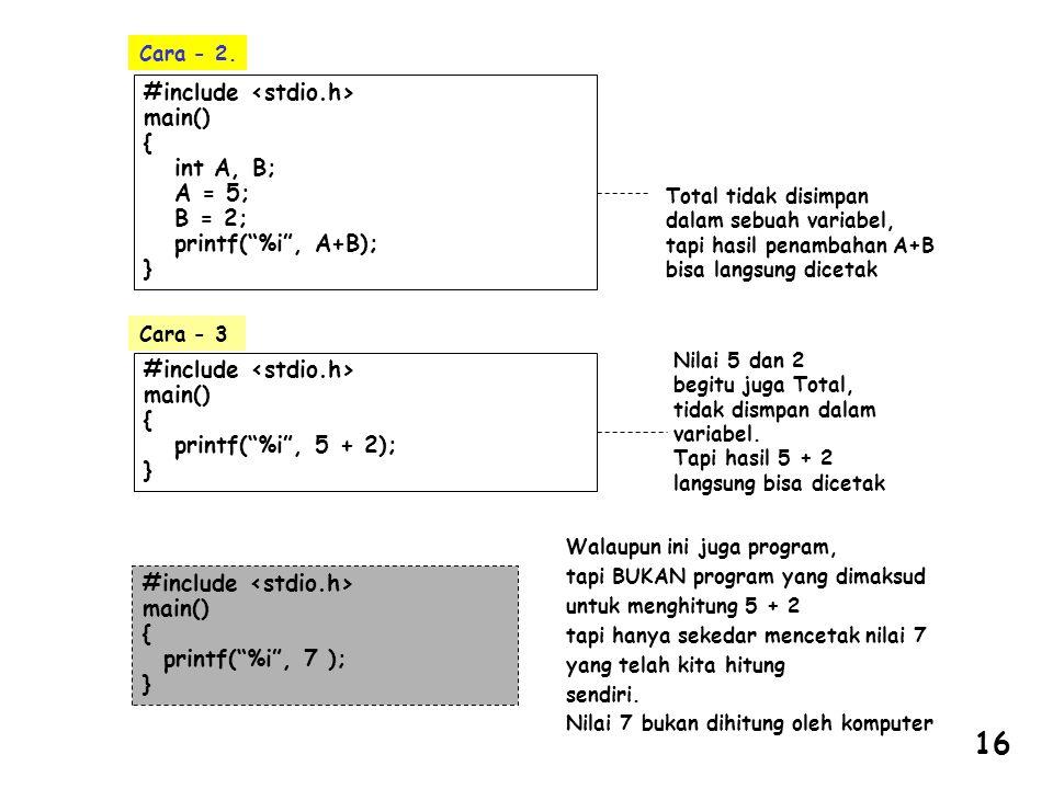 """#include main() { int A, B; A = 5; B = 2; printf(""""%i"""", A+B); } Total tidak disimpan dalam sebuah variabel, tapi hasil penambahan A+B bisa langsung dic"""