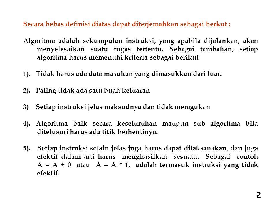 2 Secara bebas definisi diatas dapat diterjemahkan sebagai berkut : Algoritma adalah sekumpulan instruksi, yang apabila dijalankan, akan menyelesaikan