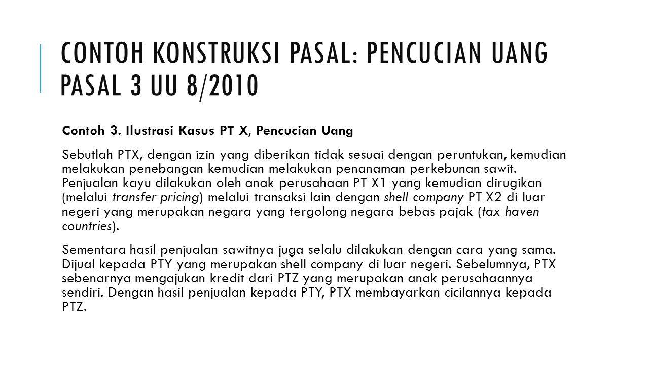 CONTOH KONSTRUKSI PASAL: PENCUCIAN UANG PASAL 3 UU 8/2010 Contoh 3.