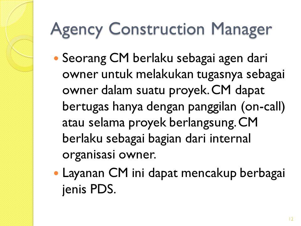 Manajemen Konstruksi (Construction Management = CM)  Owner menugaskan CM untuk membantunya membuat dokumen pengadaan dan mengawasi pelaksanaan konstruksi.