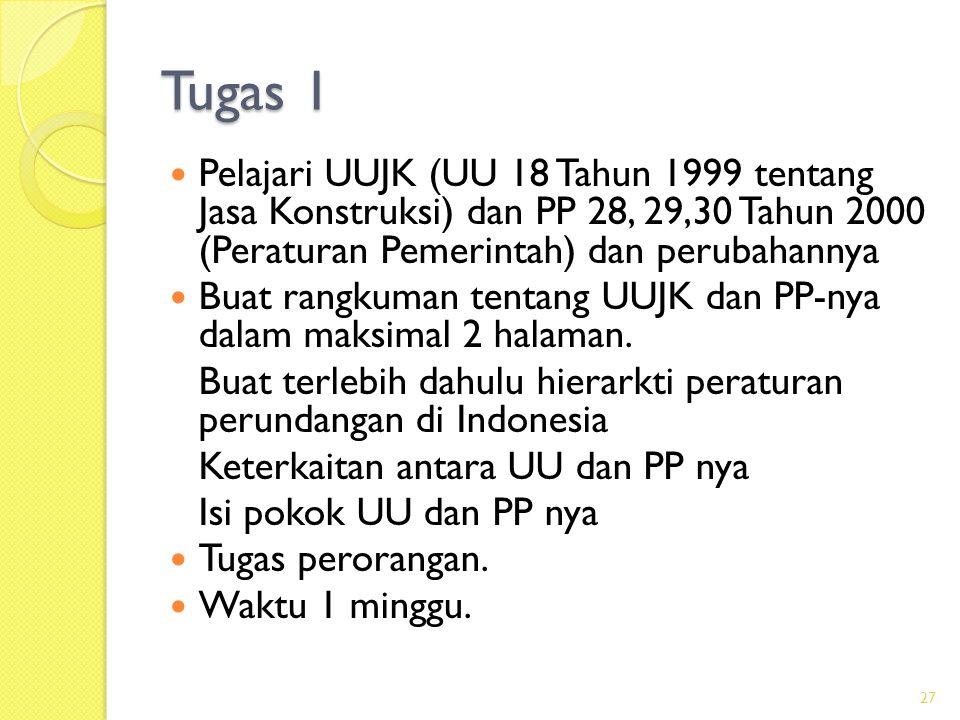 Tugas 1  Pelajari UUJK (UU 18 Tahun 1999 tentang Jasa Konstruksi) dan PP 28, 29,30 Tahun 2000 (Peraturan Pemerintah) dan perubahannya  Buat rangkuma