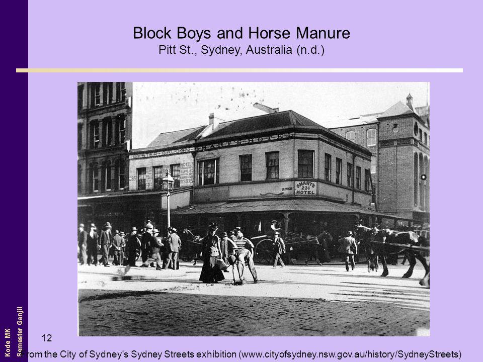 Kode MK Semester Ganjil 12 From the City of Sydney s Sydney Streets exhibition (www.cityofsydney.nsw.gov.au/history/SydneyStreets) Block Boys and Horse Manure Pitt St., Sydney, Australia (n.d.)