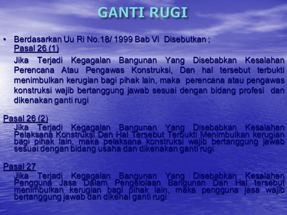 GANTI RUGI COMPENSATION BIAYA COSTS PEMBATALAN PERJANJIAN RESCISSION