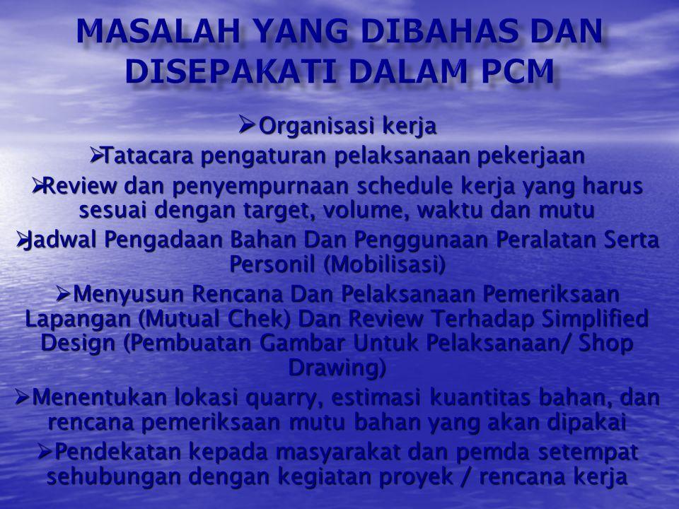 FUNGSI DARI PCM ADALAH : 1.Tahapan awal pengendalian proyek terhadap pelaksanaan dilapangan. 2.Kerangka kerja dan rencana pekerjaan selanjutnya 3.Dapa