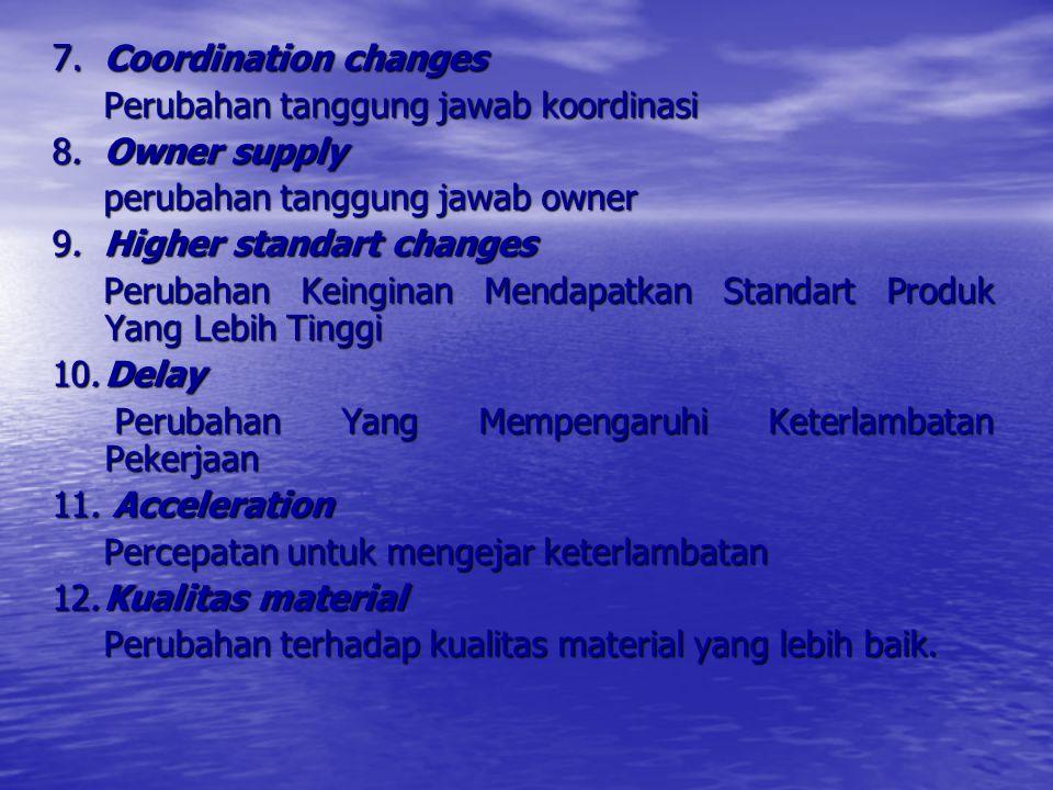 1. Formal changes Pengarahan kepada kontraktor untuk melakukan suatu perubahan. 2.Construction changes perubahan konstruksi untuk perbaikan 3. Cardina