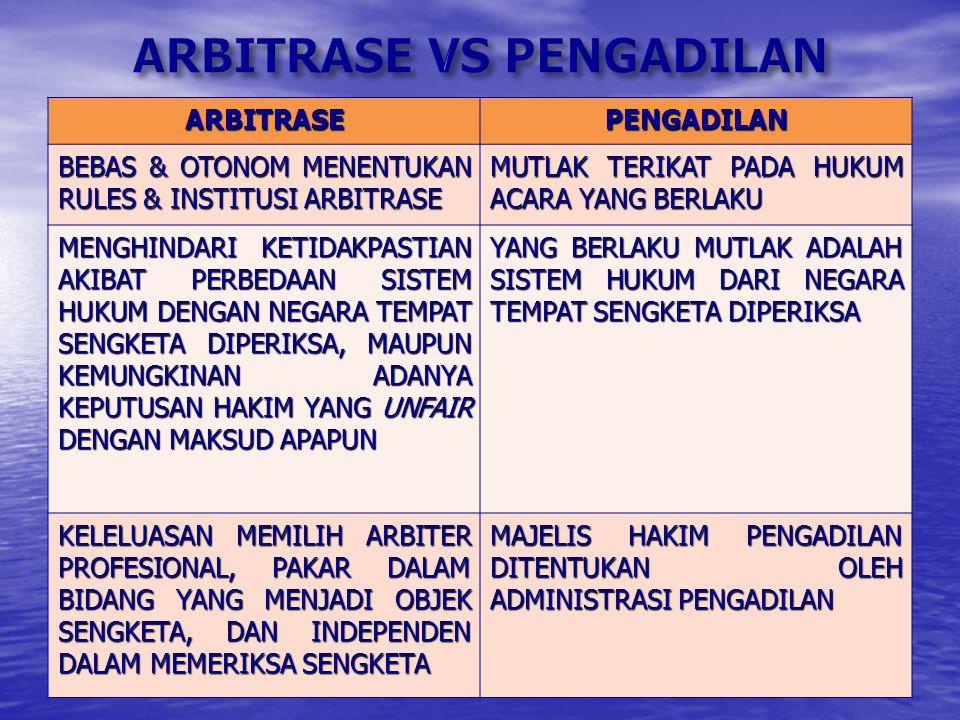 Lembaga-lembaga yang menyediakan jasa arbitrase : 1. Arbitrase nasional Keberadaannya dan daerah kewenangan meliputi wilayah suatu negara tertentu : K