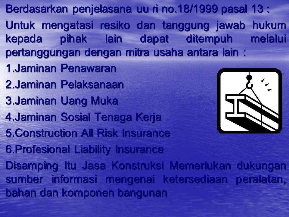 Berdasarkan pp 29/2000 pasal 6 :  Proyek dengan resiko kecil, teknologi sederhana & biaya kecil : penunjukkan langsung  Proyek dengan resiko sedang,