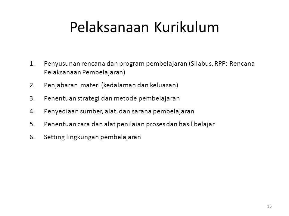 15 Pelaksanaan Kurikulum 1.Penyusunan rencana dan program pembelajaran (Silabus, RPP: Rencana Pelaksanaan Pembelajaran) 2.Penjabaran materi (kedalaman