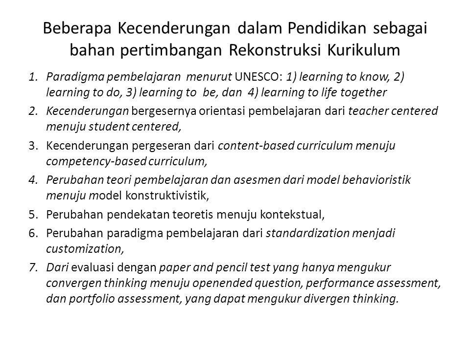 Beberapa Kecenderungan dalam Pendidikan sebagai bahan pertimbangan Rekonstruksi Kurikulum 1.Paradigma pembelajaran menurut UNESCO: 1) learning to know