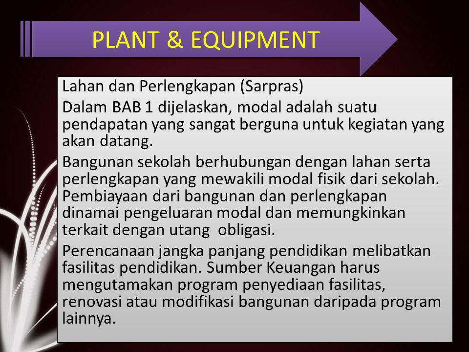 PLANT & EQUIPMENT Lahan dan Perlengkapan (Sarpras) Dalam BAB 1 dijelaskan, modal adalah suatu pendapatan yang sangat berguna untuk kegiatan yang akan datang.