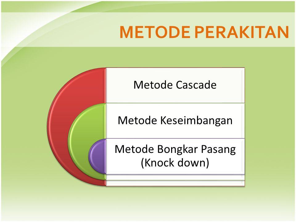 METODE PERAKITAN Metode Cascade Metode Keseimbangan Metode Bongkar Pasang (Knock down)