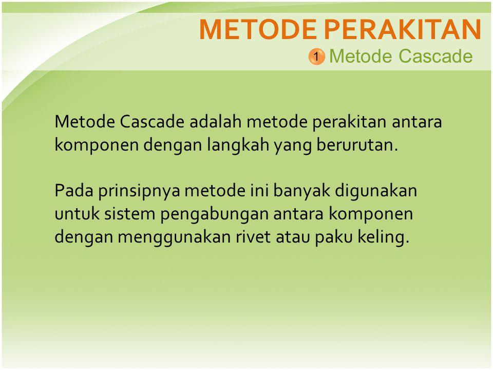 METODE PERAKITAN Metode Cascade 1 Metode Cascade adalah metode perakitan antara komponen dengan langkah yang berurutan. Pada prinsipnya metode ini ban