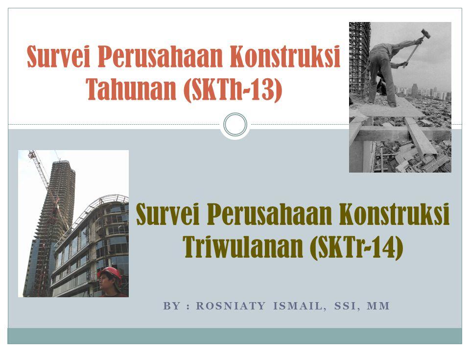 BY : ROSNIATY ISMAIL, SSI, MM Survei Perusahaan Konstruksi Tahunan (SKTh-13) Survei Perusahaan Konstruksi Triwulanan (SKTr-14)