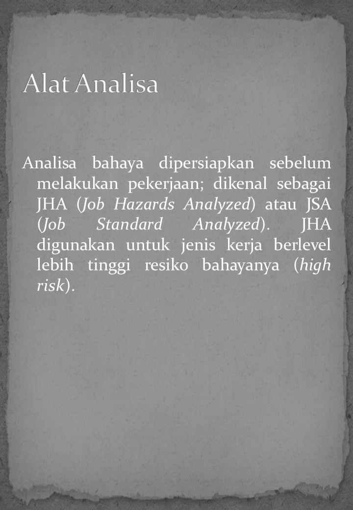 Analisa bahaya dipersiapkan sebelum melakukan pekerjaan; dikenal sebagai JHA (Job Hazards Analyzed) atau JSA (Job Standard Analyzed). JHA digunakan un