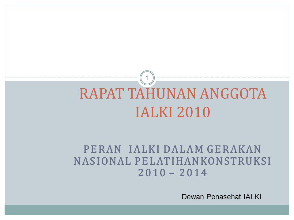 PERAN IALKI DALAM GERAKAN NASIONAL PELATIHANKONSTRUKSI 2010 – 2014 1 RAPAT TAHUNAN ANGGOTA IALKI 2010 Dewan Penasehat IALKI