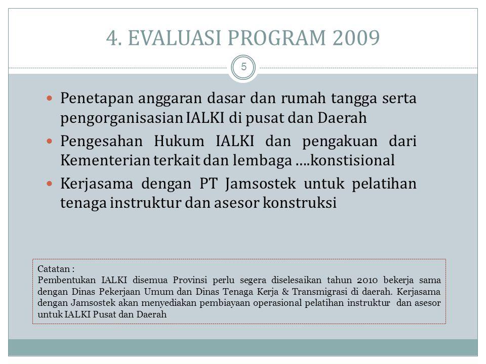 3. PROGRAM KERJA IALKI 2010 -2012 4  Tahun 2009 – pengorganisasian Pusat – Daerah  Tahun 2010 – Inventarisasi dan …… Instruktur dan Asesor yang ada