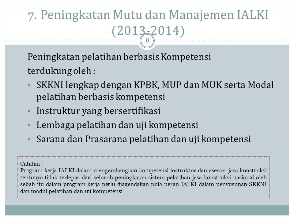 6. Program Pelatihan dan Sertifikasi Instruktur dan Asesor Baru 2011 -2012 7  Bekerjasama degan Kementerian dan lembaga konstruksi untuk menjaring te