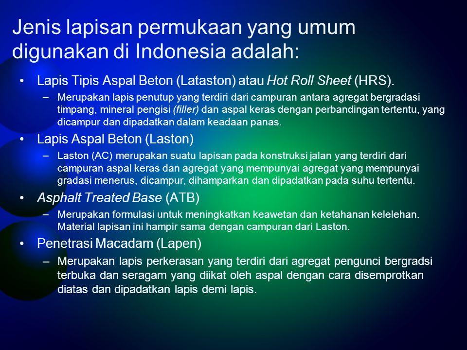 Jenis lapisan permukaan yang umum digunakan di Indonesia adalah: •Lapis Tipis Aspal Beton (Lataston) atau Hot Roll Sheet (HRS).