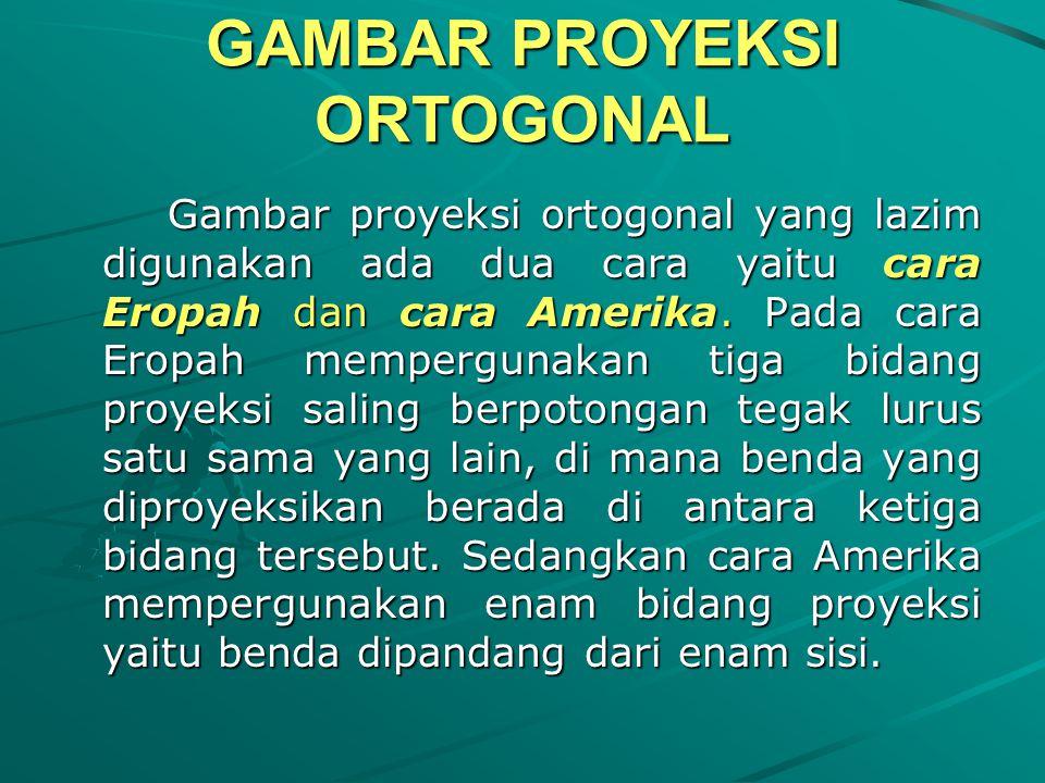 GAMBAR PROYEKSI ORTOGONAL Gambar proyeksi ortogonal yang lazim digunakan ada dua cara yaitu cara Eropah dan cara Amerika.