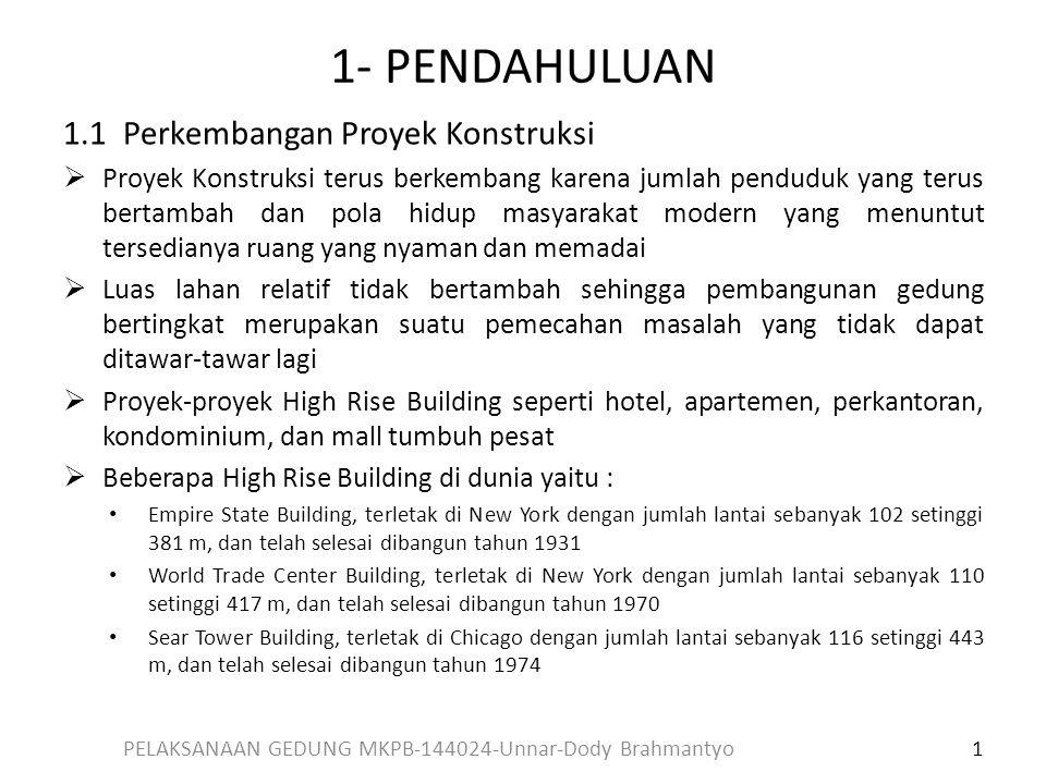 1- PENDAHULUAN 1.1 Perkembangan Proyek Konstruksi  Proyek Konstruksi terus berkembang karena jumlah penduduk yang terus bertambah dan pola hidup masy