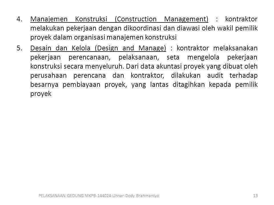 4.Manajemen Konstruksi (Construction Management) : kontraktor melakukan pekerjaan dengan dikoordinasi dan diawasi oleh wakil pemilik proyek dalam orga