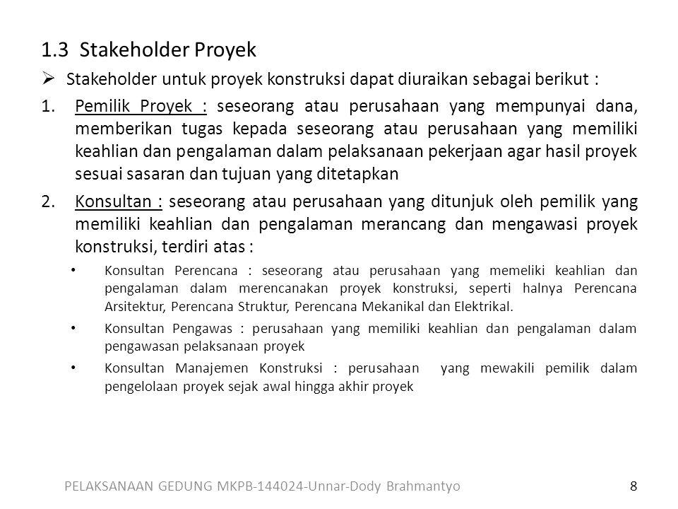 1.3 Stakeholder Proyek  Stakeholder untuk proyek konstruksi dapat diuraikan sebagai berikut : 1.Pemilik Proyek : seseorang atau perusahaan yang mempu