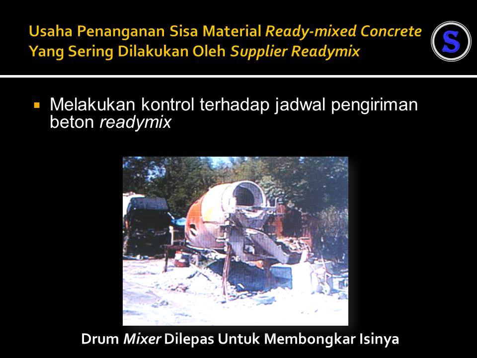  Melakukan kontrol terhadap jadwal pengiriman beton readymix Drum Mixer Dilepas Untuk Membongkar Isinya S