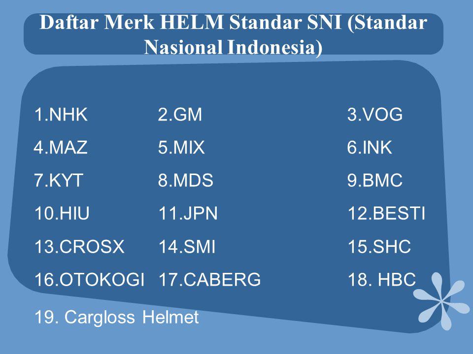 Daftar Merk HELM Standar SNI (Standar Nasional Indonesia) 1.NHK 2.GM 3.VOG 4.MAZ 5.MIX 6.INK 7.KYT 8.MDS 9.BMC 10.HIU 11.JPN 12.BESTI 13.CROSX 14.SMI 15.SHC 16.OTOKOGI 17.CABERG 18.
