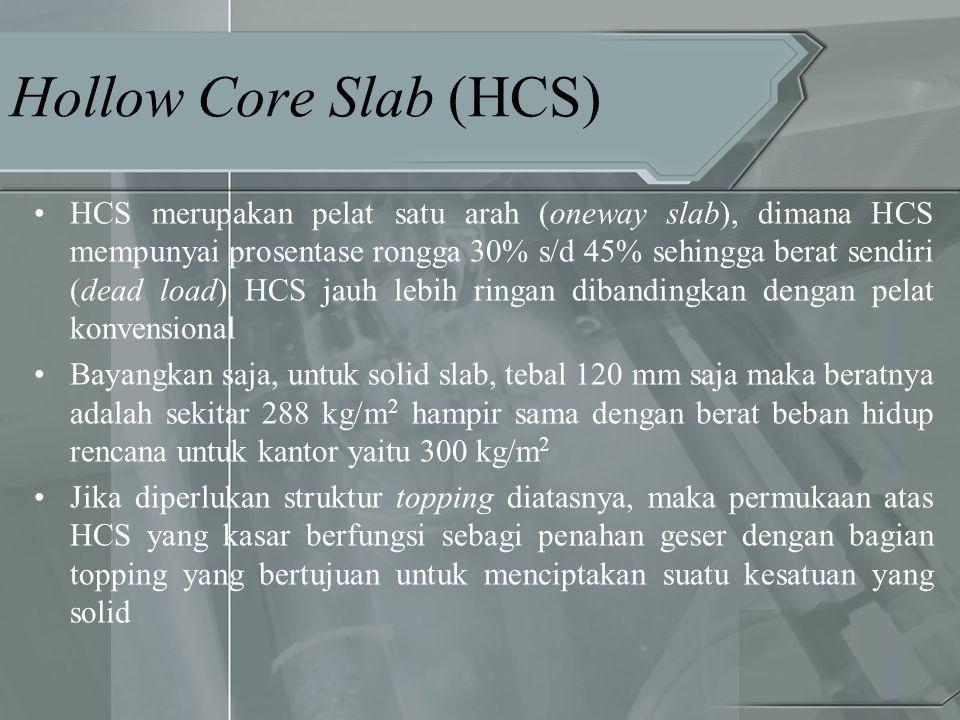 Hollow Core Slab (HCS) •HCS merupakan pelat satu arah (oneway slab), dimana HCS mempunyai prosentase rongga 30% s/d 45% sehingga berat sendiri (dead l