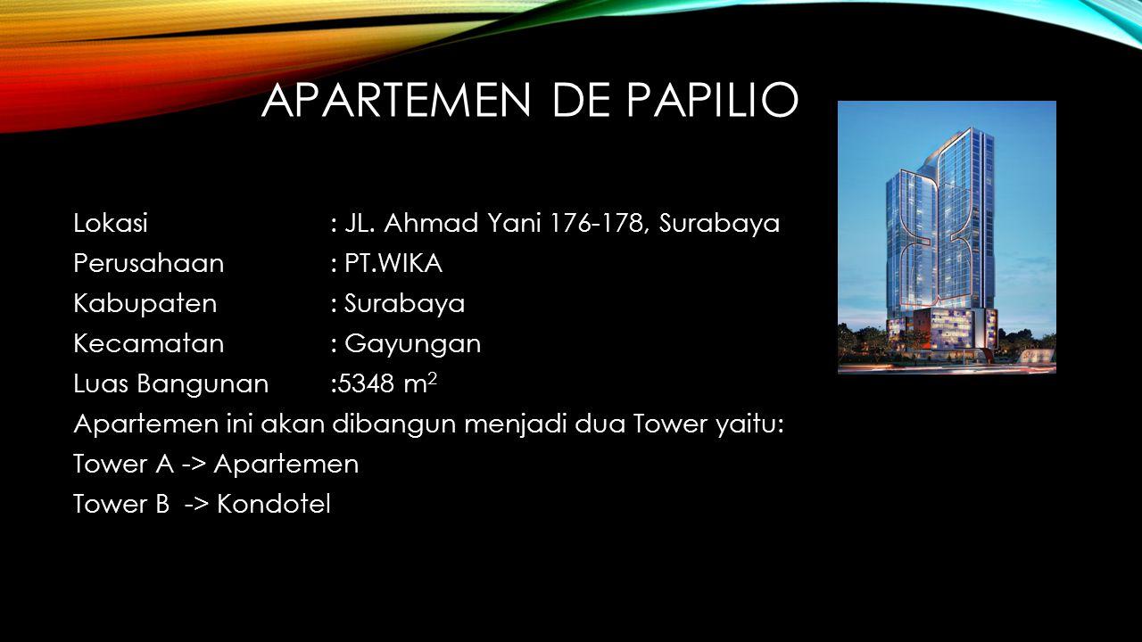 APARTEMEN DE PAPILIO Lokasi: JL. Ahmad Yani 176-178, Surabaya Perusahaan: PT.WIKA Kabupaten : Surabaya Kecamatan: Gayungan Luas Bangunan:5348 m 2 Apar