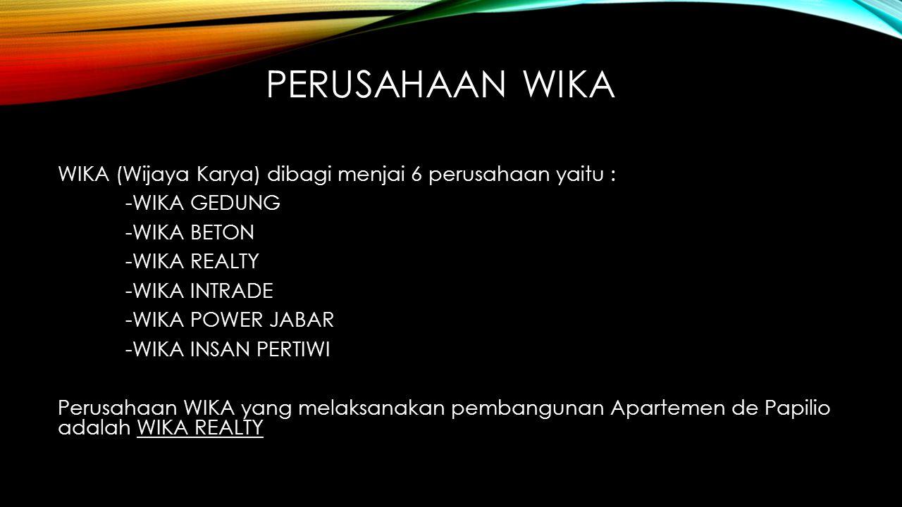 PERUSAHAAN WIKA WIKA (Wijaya Karya) dibagi menjai 6 perusahaan yaitu : -WIKA GEDUNG -WIKA BETON -WIKA REALTY -WIKA INTRADE -WIKA POWER JABAR -WIKA INS