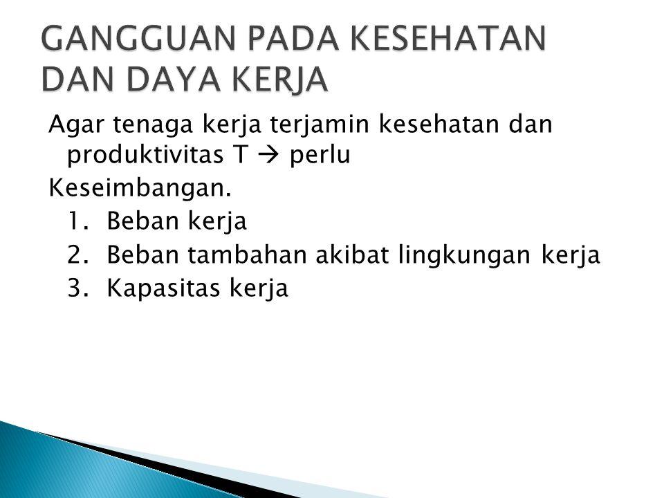 1.BEBAN KERJA Pekerjaan yang merupakan beban terdiri dari beban fisik, mental dan sosial.