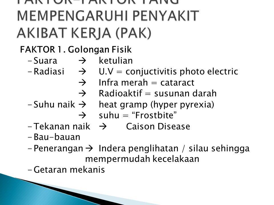 FAKTOR 1. Golongan Fisik -Suara  ketulian -Radiasi  U.V = conjuctivitis photo electric  Infra merah = cataract  Radioaktif = susunan darah -Suhu n