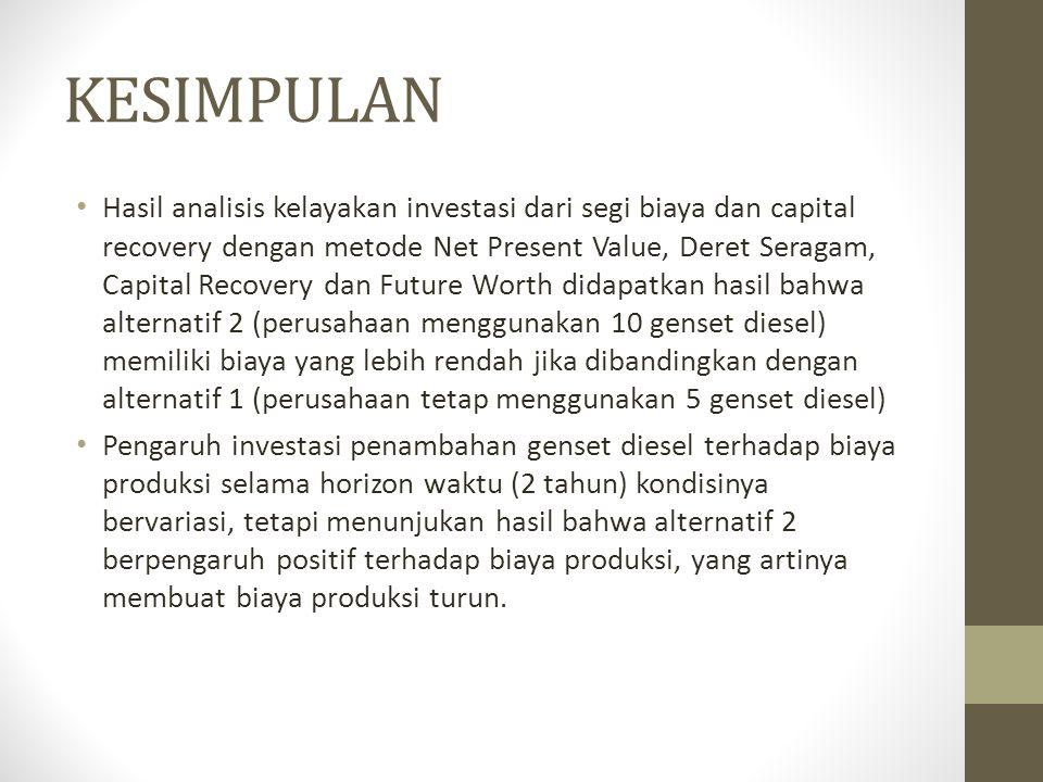 KESIMPULAN • Hasil analisis kelayakan investasi dari segi biaya dan capital recovery dengan metode Net Present Value, Deret Seragam, Capital Recovery