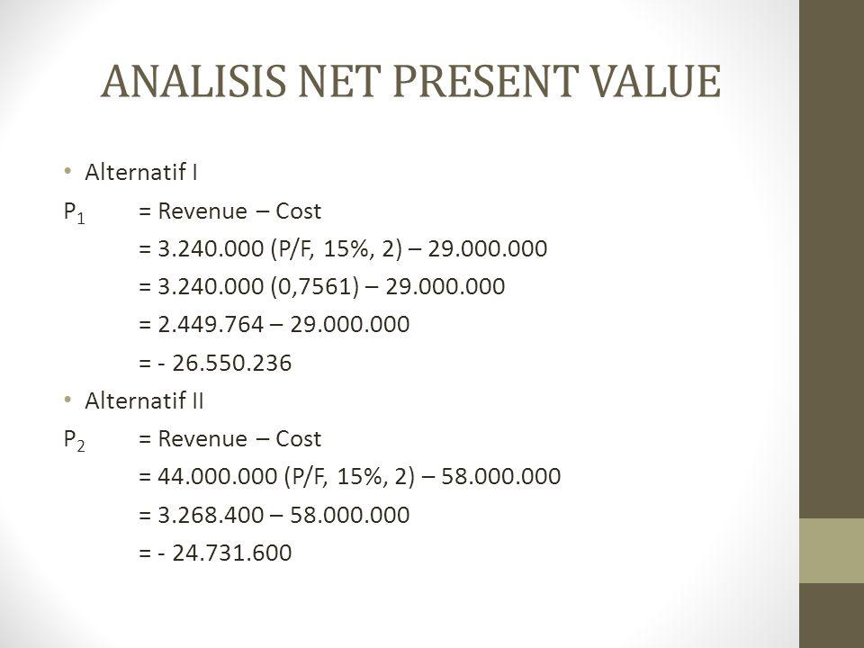 ANALISIS DERET SERAGAM • Alternatif I • A 1 = Revenue – Cost • = 3.240.000 (A/F, 15%, 2) – 29.000.000 (A/F, 15%, 2) • = 3.240.000 (0,4651) – 29.000.000 (0.615) • = 1.506.924 – 17.837.900 • = - 16.330.976 • Alternatif II • A 2 = Revenue – Cost • = 44.000.000 (A/F, 15%, 2) – 58.000.000(A/F, 15%, 2) • = 44.000.000 (0,4651) – 58.000.000 (0.615) • = 20.464.400 – 35.675.800 • = - 15.211.400