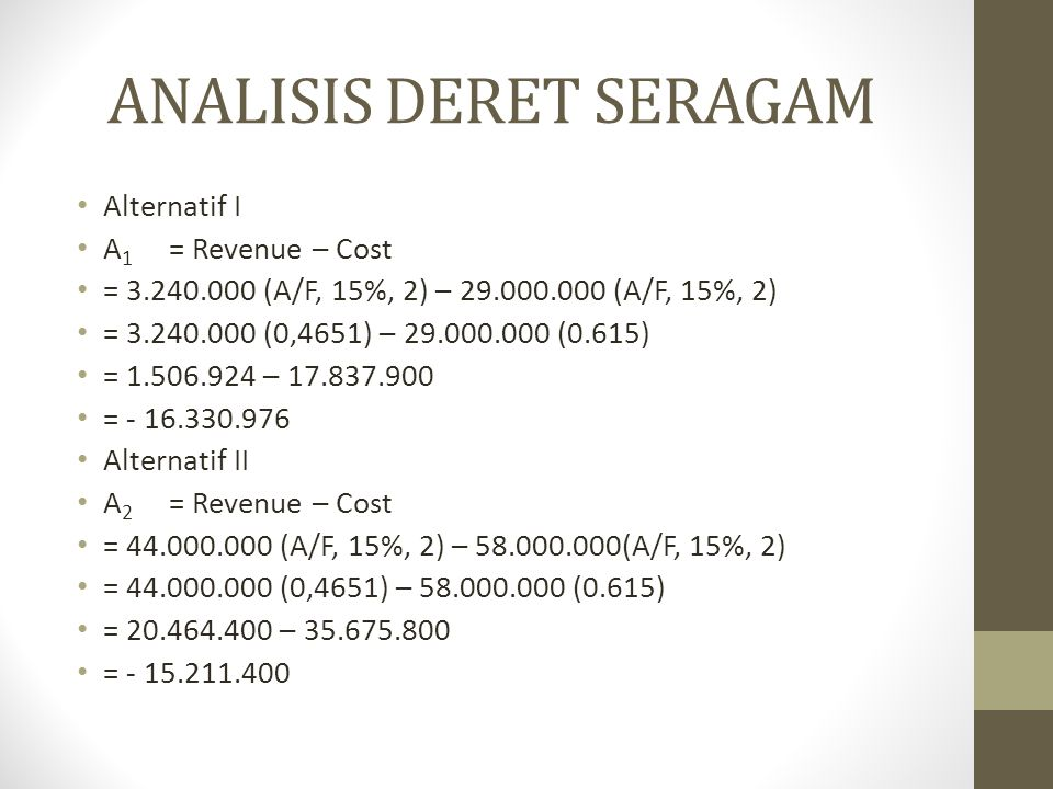 ANALISIS DERET SERAGAM • Alternatif I • A 1 = Revenue – Cost • = 3.240.000 (A/F, 15%, 2) – 29.000.000 (A/F, 15%, 2) • = 3.240.000 (0,4651) – 29.000.00