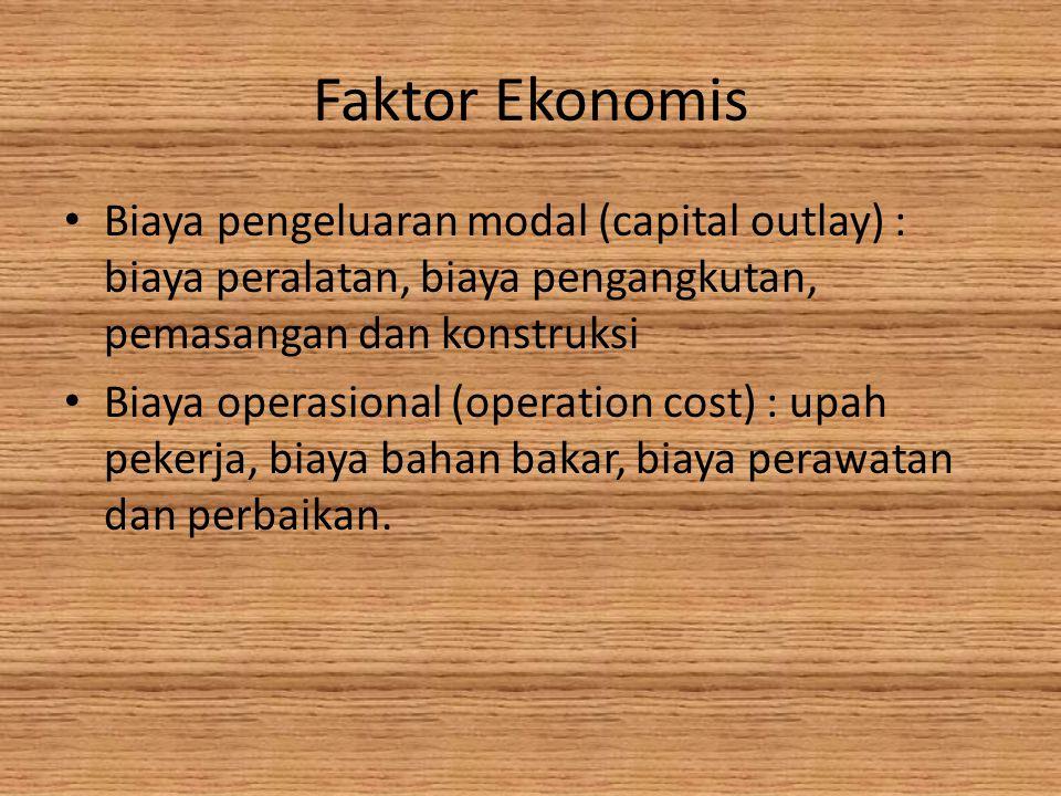 Faktor Ekonomis • Biaya pengeluaran modal (capital outlay) : biaya peralatan, biaya pengangkutan, pemasangan dan konstruksi • Biaya operasional (operation cost) : upah pekerja, biaya bahan bakar, biaya perawatan dan perbaikan.